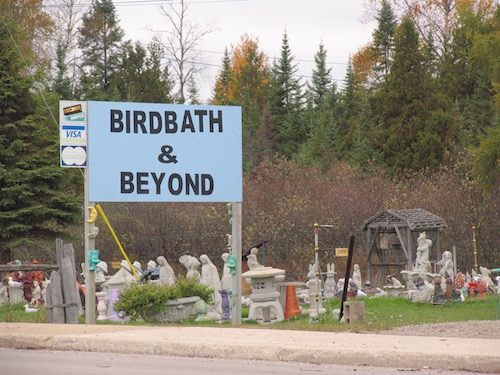 Birdbath and Beyond sign outside of yard decoration shop