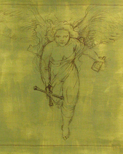 Rubenesque angel, wings spread, approaching the viewer with a tire iron and motor oil
